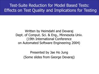 Test-Suite Reduction for Model Based Tests: Effects on Test Quality and Implications for Testing
