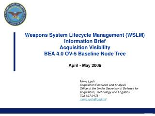 Weapons System Lifecycle Management (WSLM) Information Brief Acquisition Visibility BEA 4.0 OV-5 Baseline Node Tree  Apr