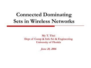 Connected Dominating Sets in Wireless Networks