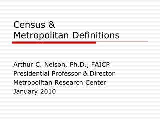 Census &  Metropolitan Definitions