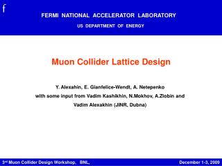 Muon Collider Lattice Design