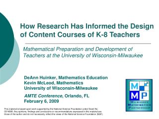 Mathematical Preparation and Development of Teachers at the University of Wisconsin-Milwaukee