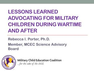 Lessons learned advocating for military children during wartime and after