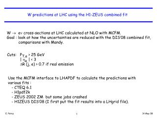 W predictions at LHC using the H1-ZEUS combined fit