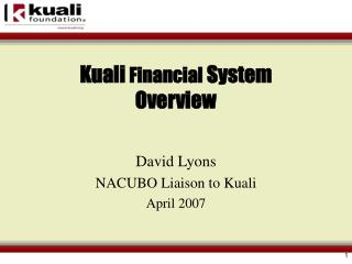 Kuali  Financial  System Overview