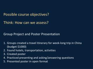 Group Project and Poster Presentation