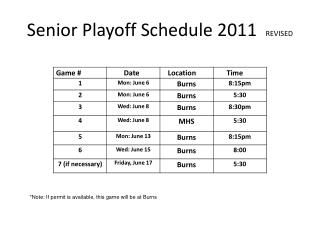 Senior Playoff Schedule 2011   REVISED