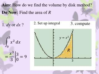 Aim:  How do we find the volume by disk method?