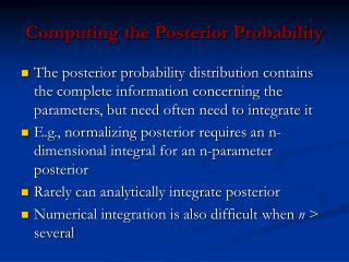 Computing the Posterior Probability