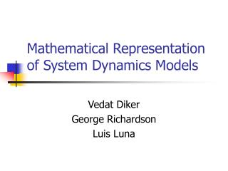 Mathematical Representation of System Dynamics Models