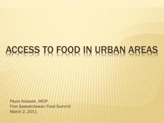 Access to Food in Urban Areas