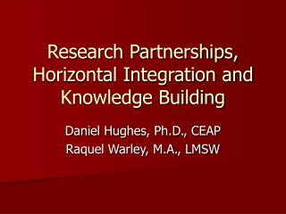 Research Partnerships, Horizontal Integration and Knowledge Building