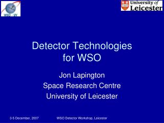 Detector Technologies for WSO