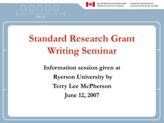 Standard Research Grant Writing Seminar