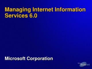 Managing Internet Information Services 6.0
