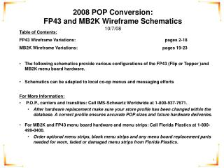 2008 POP Conversion:  FP43 and MB2K Wireframe Schematics 10/7/08