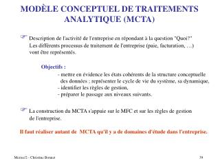 MOD È LE CONCEPTUEL DE TRAITEMENTS ANALYTIQUE (MCTA)