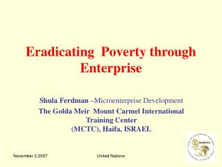 Eradicating  Poverty through Enterprise