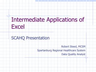 Intermediate Applications of Excel
