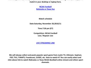 Nebraska vs Texas live online on your PC