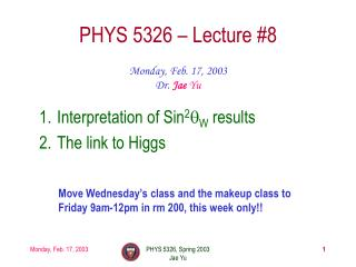 PHYS 5326 – Lecture #8