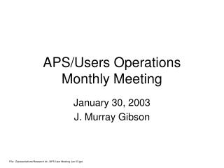 APS/Users Operations Monthly Meeting