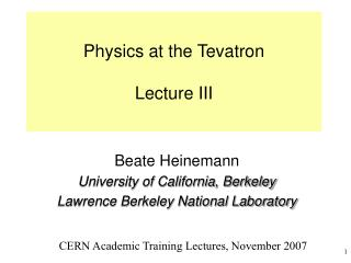 Physics at the Tevatron Lecture III
