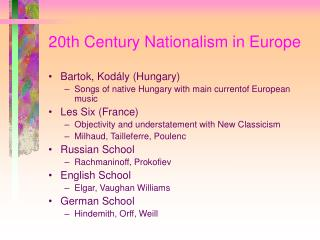 20th Century Nationalism in Europe