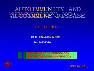 AUTOIMMUNITY AND  AUTOIMMUNE DISEASE