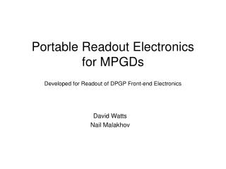 Portable Readout Electronics for MPGDs