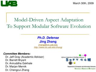 Model-Driven Aspect Adaptation To Support Modular Software Evolution