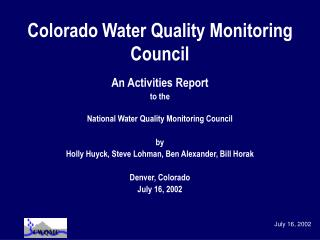 Colorado Water Quality Monitoring Council