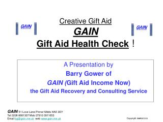 Creative Gift Aid GAIN Gift Aid Health Check  !