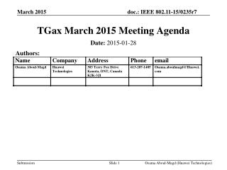 TGax March 2015 Meeting Agenda