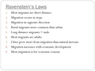 Ravenstein's  Laws