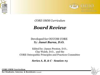 CORE OMM Curriculum Board Review