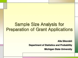 Sample Size Analysis for Preparation of Grant Applications