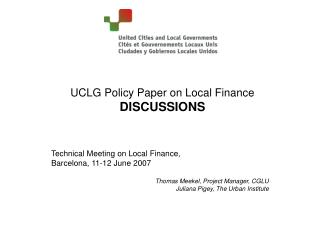 UCLG Policy  Paper on Local Finance DISCUSSIONS