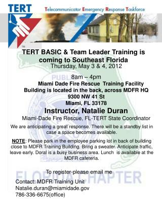 TERT BASIC & Team Leader Training is coming to Southeast Florida