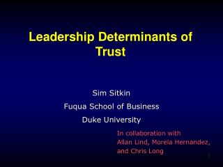 Leadership Determinants of Trust