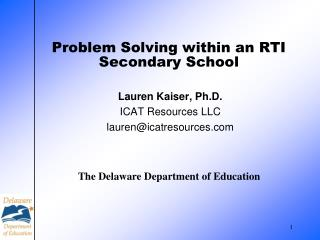 Problem Solving within an RTI Secondary School