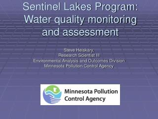 Sentinel Lakes Program: Water quality monitoring and assessment