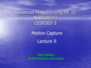 Advanced Programming for 3D Applications CE00383-3