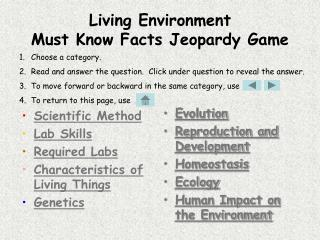 Living Environment  Must Know Facts Jeopardy Game