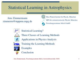 Statistical Learning in Astrophysics