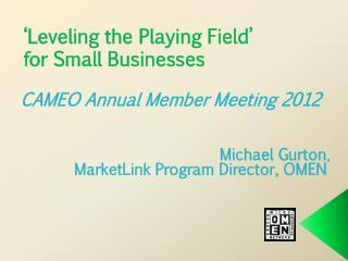 'Leveling the Playing Field' for Small  Businesses