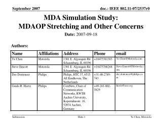 MDA Simulation Study:   MDAOP Stretching and Other Concerns