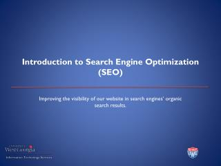 Introduction to Search Engine Optimization (SEO)