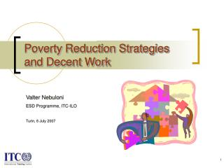 Poverty Reduction Strategies and Decent Work