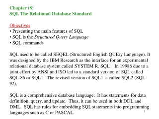 SQL- The Relational Database Standard